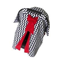 Red Ribboned Black Striped Stroller Cover