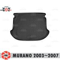 닛산 murano 용 트렁크 매트 2003 ~ 2007 트렁크 플로어 러그 미끄럼 방지 폴리 우레탄 먼지 방지 인테리어 트렁크 카 스타일링