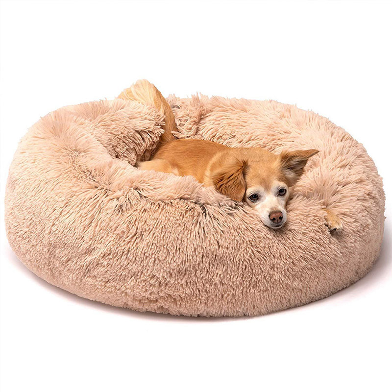 Round Calming Bed For Dogs High-quality warm fur, high performance calming bed for dogs | DogsMall-International
