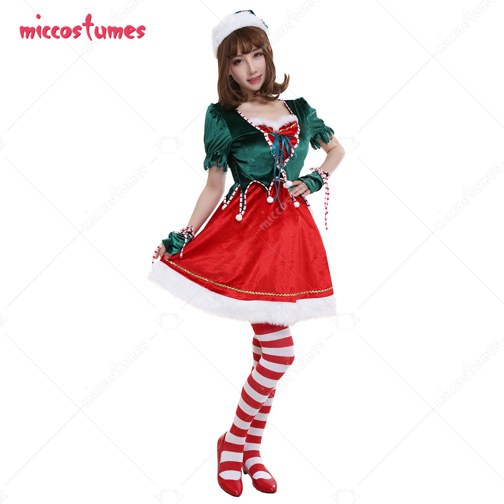 Women Mrs Claus Adult Red and Green Velvet Performance Outfit Cosplay Costume for Christmas with Gloves with Bow-Decorated Stock