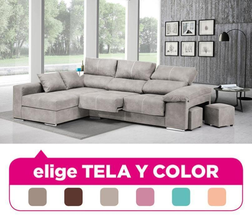 Sofa Chaise Longue, 4 Seater, Choose Fabric And Color Ref-81