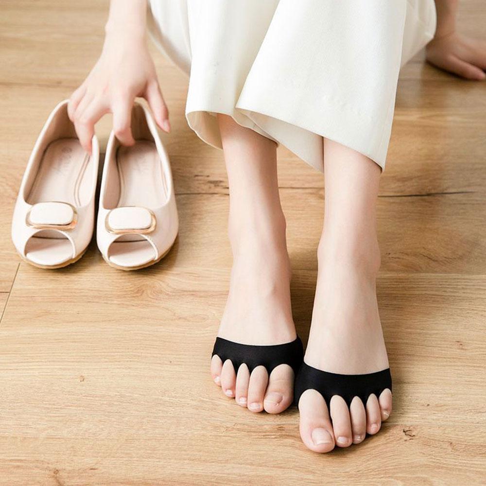 New Women Five Toe Socks Sponge Anti-Slip Lining Open Toe Heelless Liner Sock Invisible Forefoot Cushion Foot Pad Cotton Socks