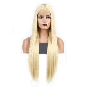 Image 2 - Karizma sentetik dantel ön peruk s sarışın peruk uzun düz saç doğal saç çizgisi dantel ön peruk kadın peruk yan kısmı