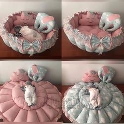 Jaju tapis de jeu portable pour bébé | Design de nuage vert, tapis de jeu, nid de bébé, chevet, chaise de lit