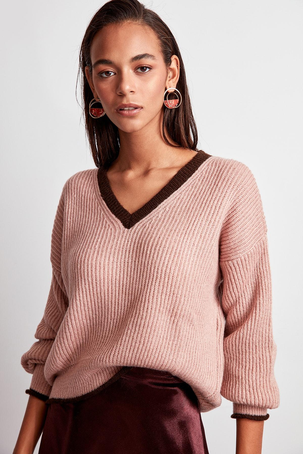 Trendyol WOMEN-Powder Bias Tape Detailed Knitwear Sweater TWOAW20ZA0025