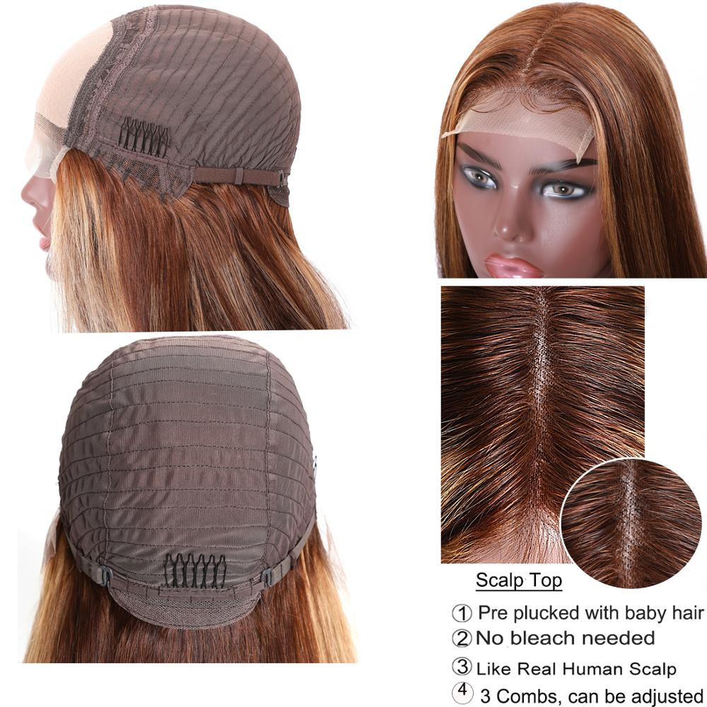 UNice Hair Highlight Wig  Straight  Wigs Piano Honey Blonde Babylights Wig 150% Density 4X1 Lace Part Wig 4