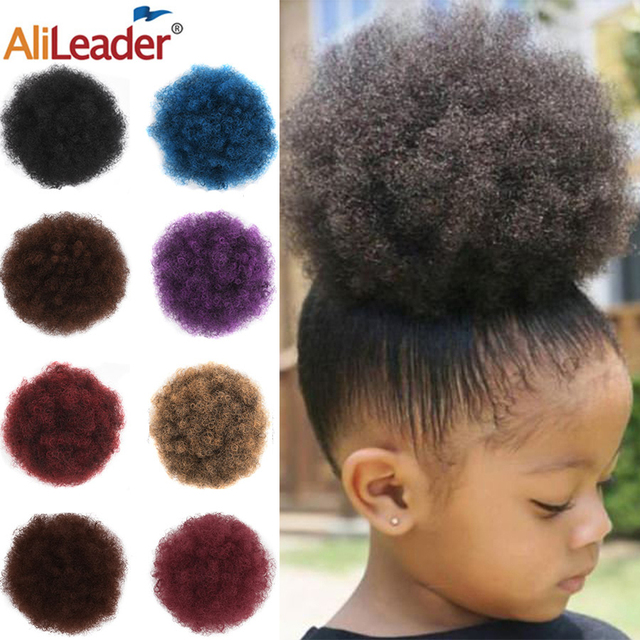 Alileader New Kinky Hair Bun Synthetic Claw Clip Ponytail Hair Extensions Drawsting Short Ponytail Fluffy Afro Short Hair Buns