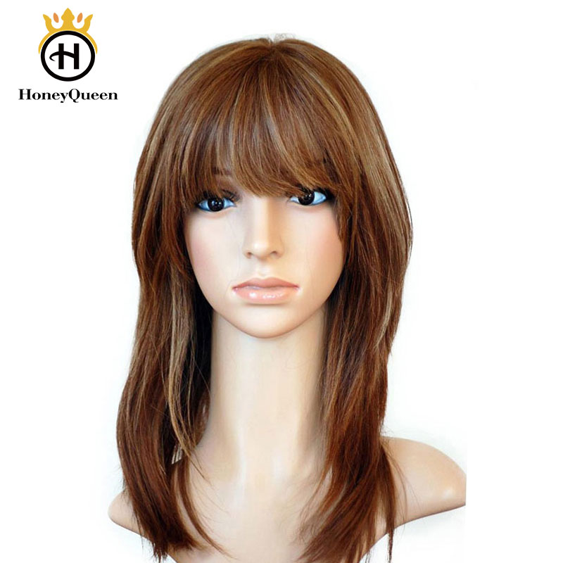 Kosher Jewish Wigs With Bangs Ombre Blonde Color European Remy Hair With Baby Hair Straight Human Hair Wigs Silk Top Kosher Wig