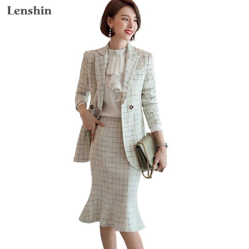 Lenshin 2 Piece Set Tweed Suit Formal Trumpet Mermaid Skirt Suit Plaid Blazer Office Lady Uniform Designs Women Business Sets