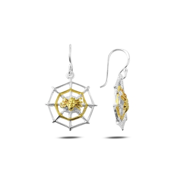 Silver 925 Sterling Gold Plated Spider & Network