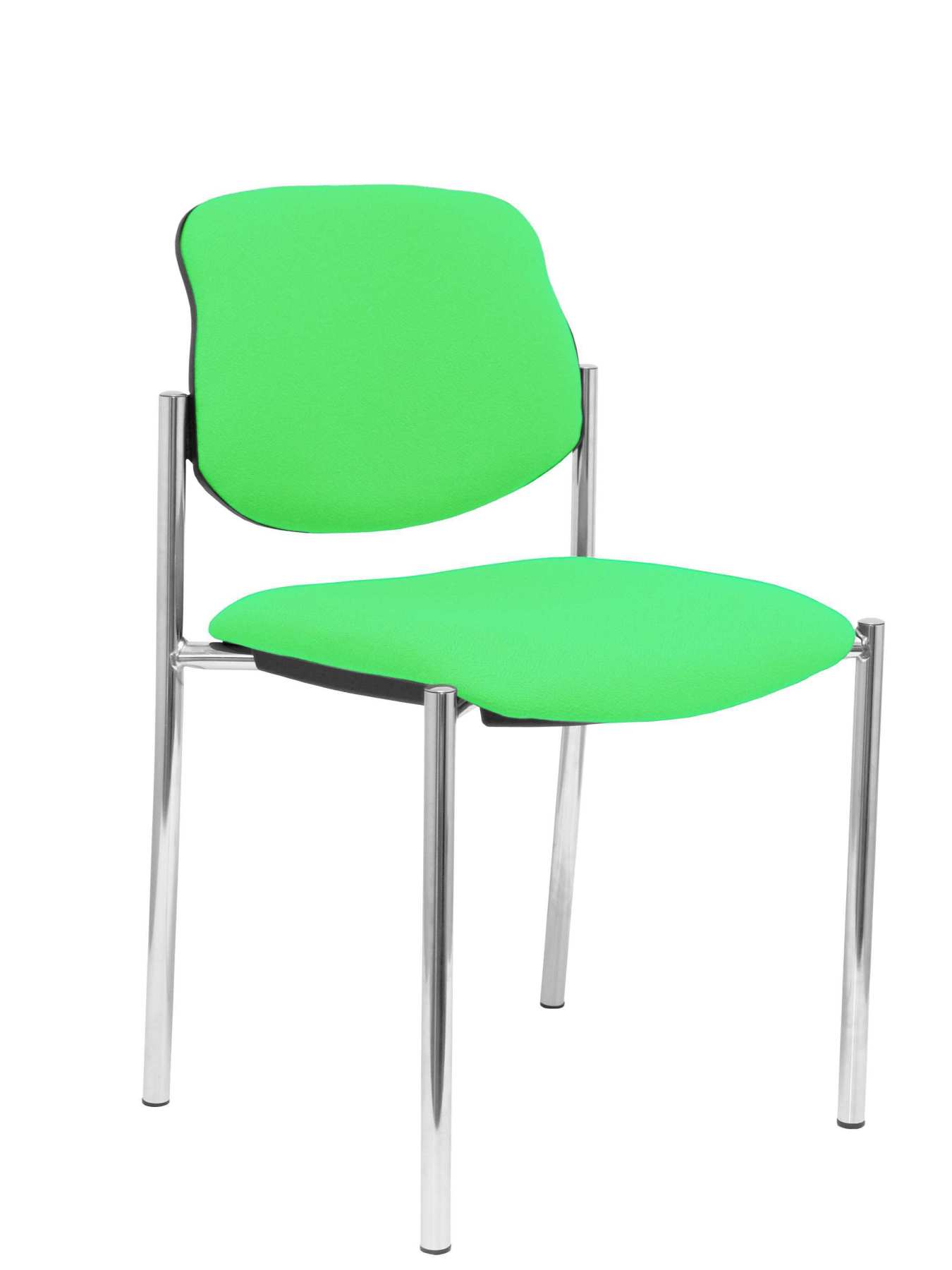Confident Chair 4-leg And Estructrua Chrome Seat And Back Upholstered In Fabric BALI Pistachio Color PIQUERAS And