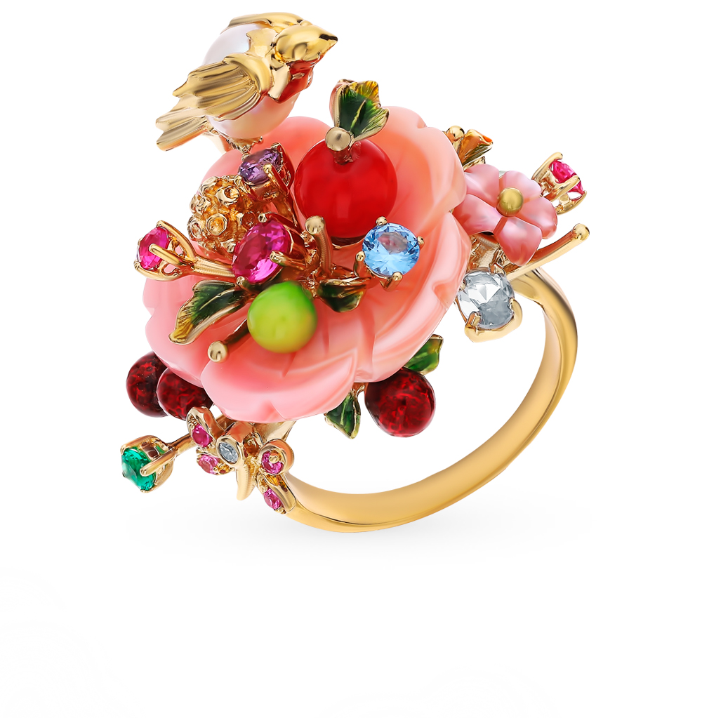 Silver Ring With Spinel, Corundum, Beads, Pearls, Coral, Mother Of Pearl And Enamel SUNLIGHT Test 925