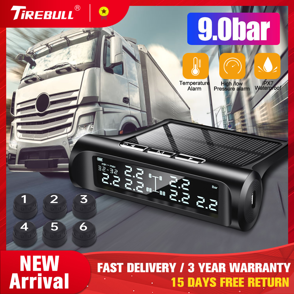 Pressure-Real-Time-Alarm Truck Tire-Pressure-Monitoring-System External-Sensor Solar-Tire