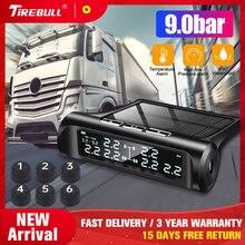 Sistema de monitoramento da pressão dos pneus do caminhão de carro 14 barras tela lcd caminhão tpms pressão dos pneus solar em tempo real alarme 6 pces sensor externo