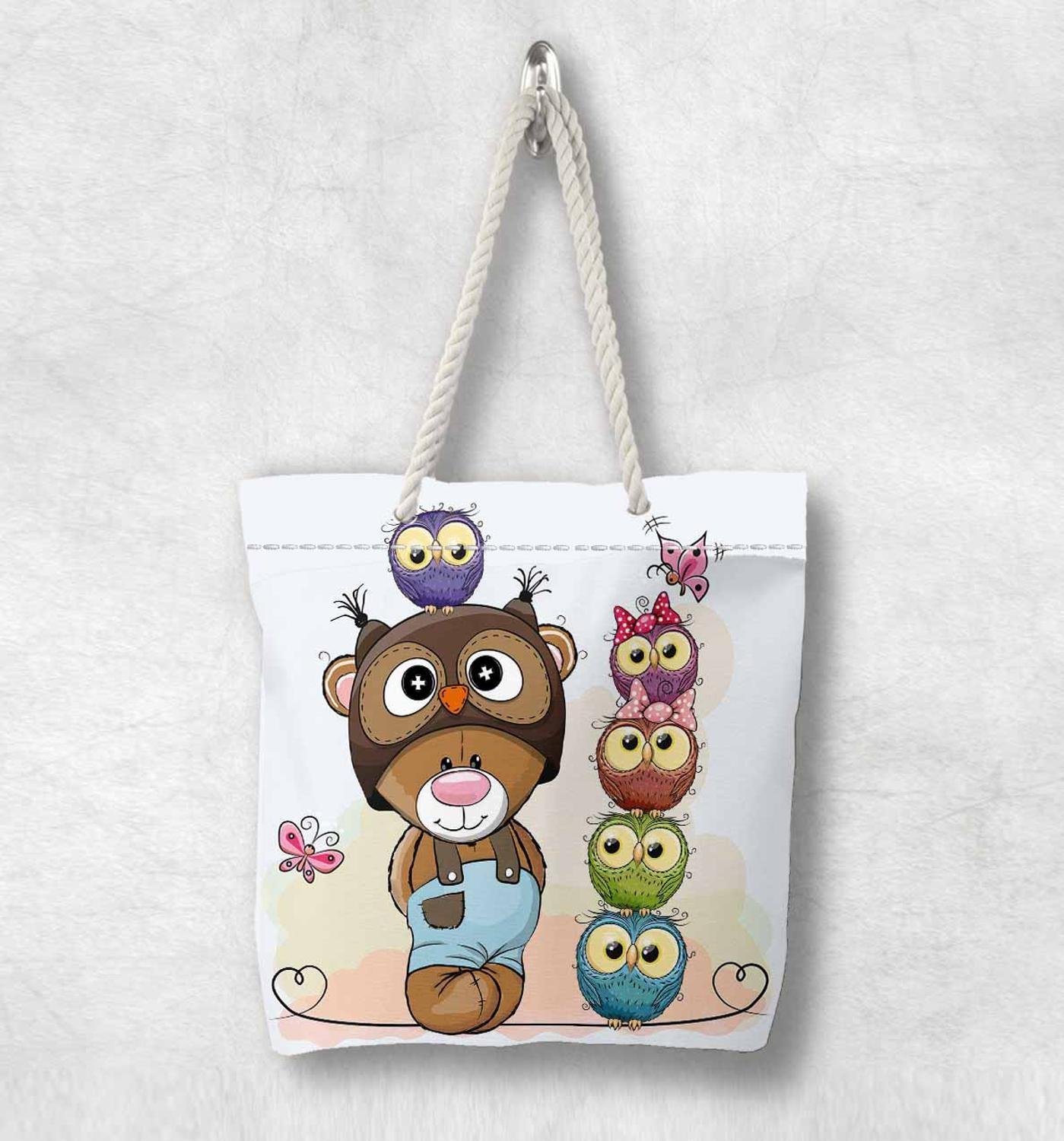 Else Brown Bears Blue Green Pink Cute Owl New Fashion White Rope Handle Canvas Bag  Cartoon Print Zippered Tote Bag Shoulder Bag