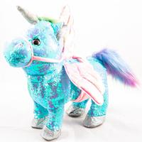 Interactive unicorn with sequins walks on the leash 25 cm soft toy for children Girls surprise gift