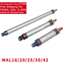 Free Shipping MAL 16/20/25/32/40mm Mini Pneumatic cylinder 25-500mm Stroke Double Acting Aluminum Alloy Air Cylinder