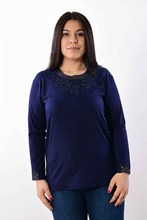 Women's Large Size Collar Embroidered Navy Blue Blouse 2602