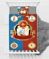 Mais Azul Do Mar Vermelho Navio Anchor Sailor Sea Baby Boy Crianças dos miúdos 3d Impressão Única Colcha Tampa de Cama Presente Combinar fronha|Capa de edredom| |  -