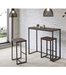 Kitchen set Paris table and 2 stools black
