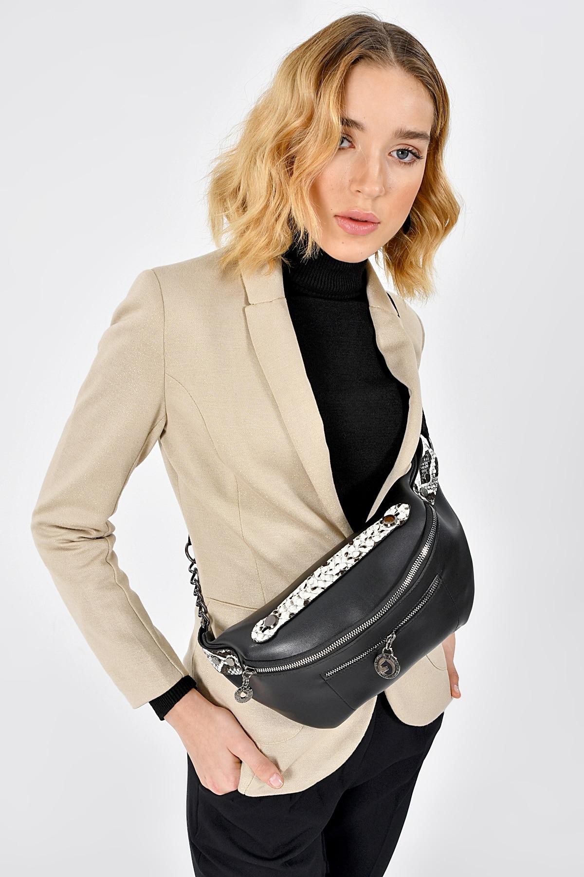 Aqua Di Polo APCR2-A0230-KD131 Women Waist Bag Belt Bag Black Faux Leather Bag Message Bag Phone Key Pouch Waist Packs