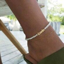 Custom Imitation Pearl  Jewelry Personalized Name Anklet Bracelet Women Customized Nameplated Bracelets Beach Jewelry Foot Chain