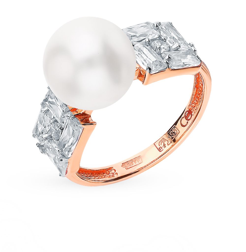 Gold Ring With Cubic Zirconia And Pearl SUNLIGHT Test 585