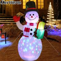 OurWarm 1.52M Christmas Inflatable Decorations 5ft Snowman Night LED Light Outdoor Lawn Yard Toys Christmas Party Decor New Year