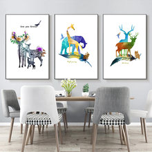 Abstract Watercolor Overlapping Wild Animals Painting Canvas Nordic Elk Wall Murals Picture And Poster Home Decor Living Home