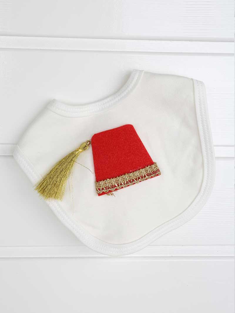 082-506-027 Beyaz Feslı Erkek Bebek 4 lü Tulum Seti (4)
