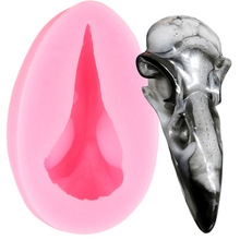 3D Raven Head Skull Silicone Molds Crow Candy Clay Mold Cupcake Topper Fondant Cake Decorating Tools Chocolate Gumpaste Moulds