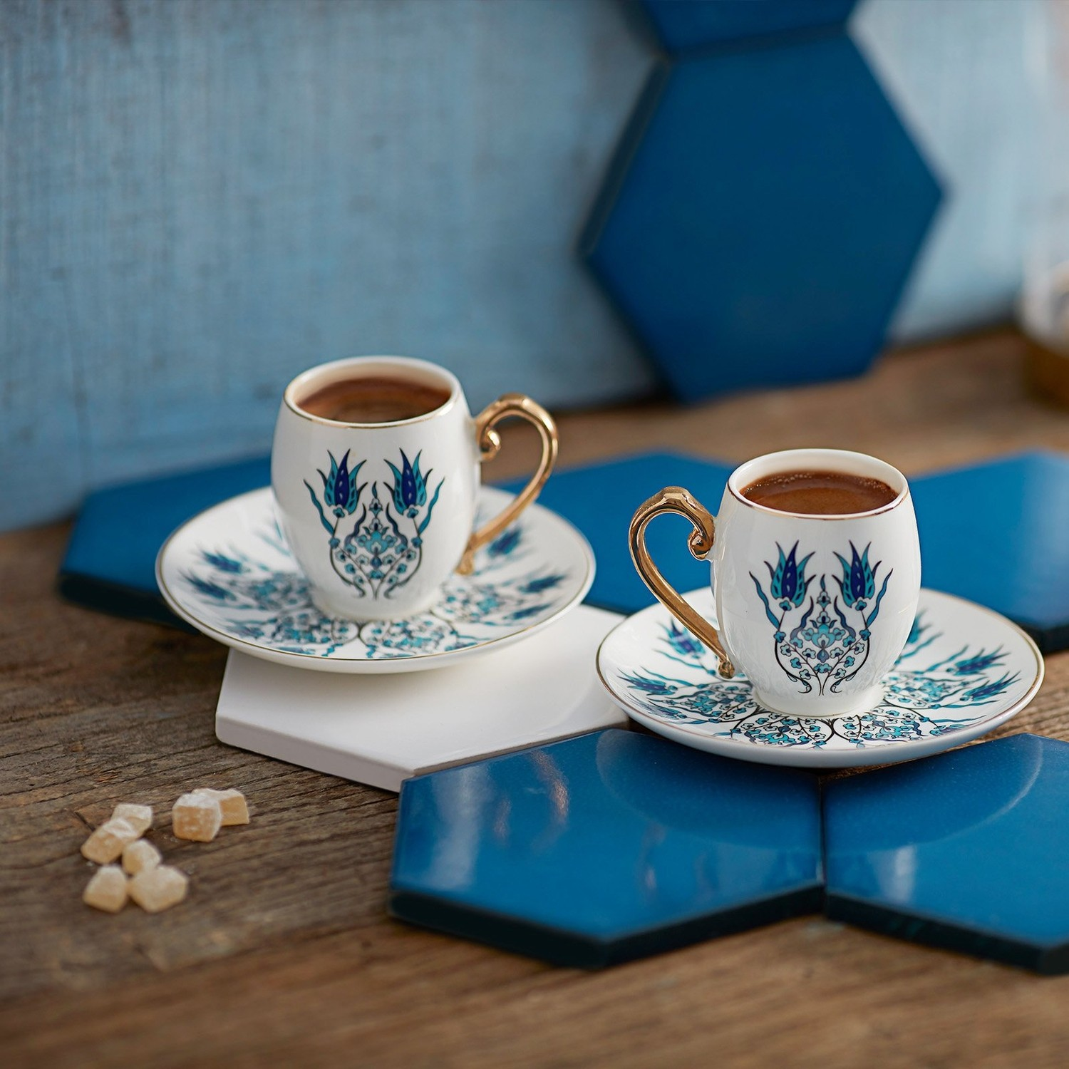 WONDERFUL MAGNIFICENT Karaca Iznik Coffee Cup Set for 2 Persons QUALITY FREE SHIPPING WITH BEVERAGES AND BEVERAGES  -