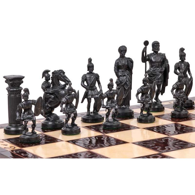 Spartan set. Roman style chess pieces, made of plastic plumbs. Birch wood board 3