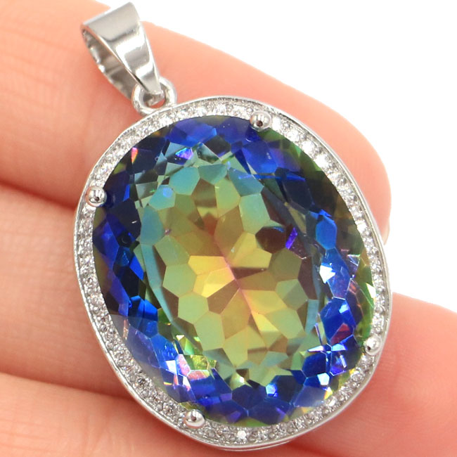 25x20mm Big Oval 22x18mm Gemstone Fire Rainbow Violet Mystic Topaz Natural CZ Gift For Girls Silver Pendant