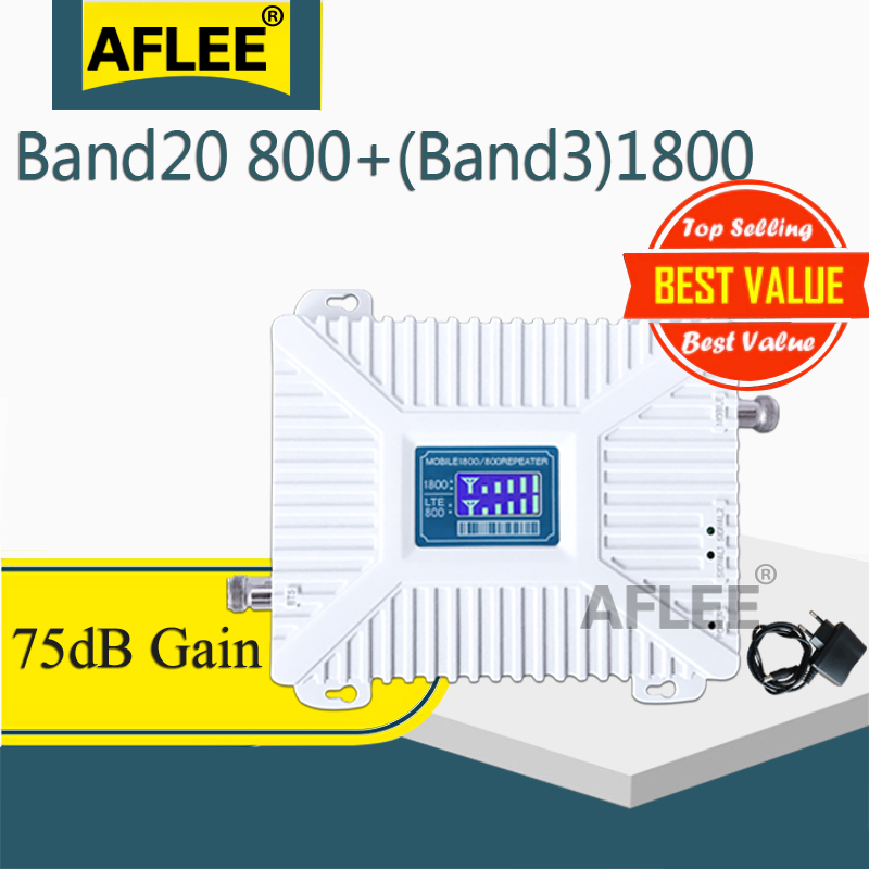 B20 800 1800 2100 2600mhz Cellular Amplifier 4G Repeater GSM 2G 3G 4G Dual-Band Cell Phone Mobile Signal Booster DCS WCDMA LTE