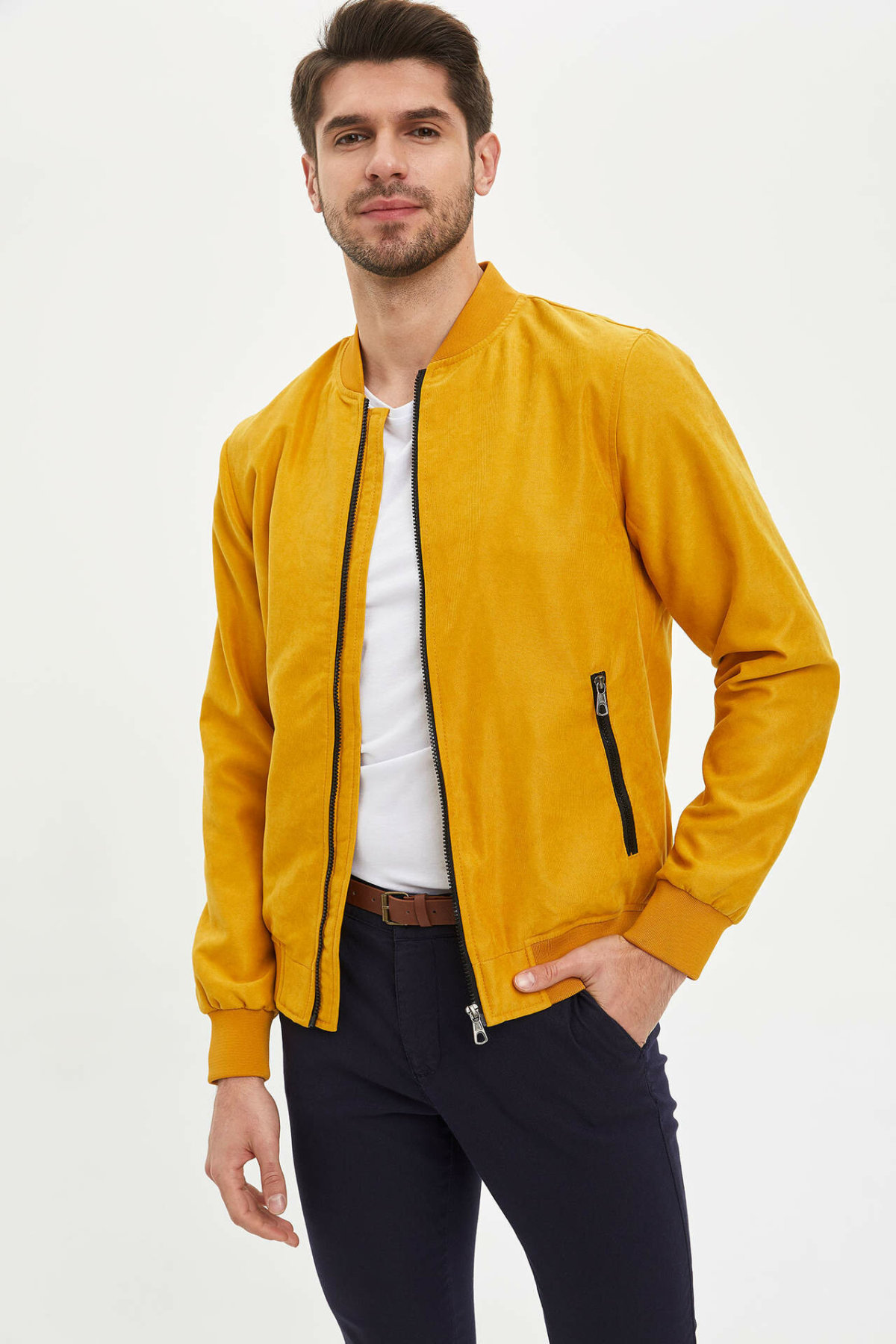 DeFacto Man Mont 탑 코트 남성 캐주얼 지퍼 코트 남성 봄 기본 컬러 자켓 남성 자켓 Coat-M3313AZ20SP