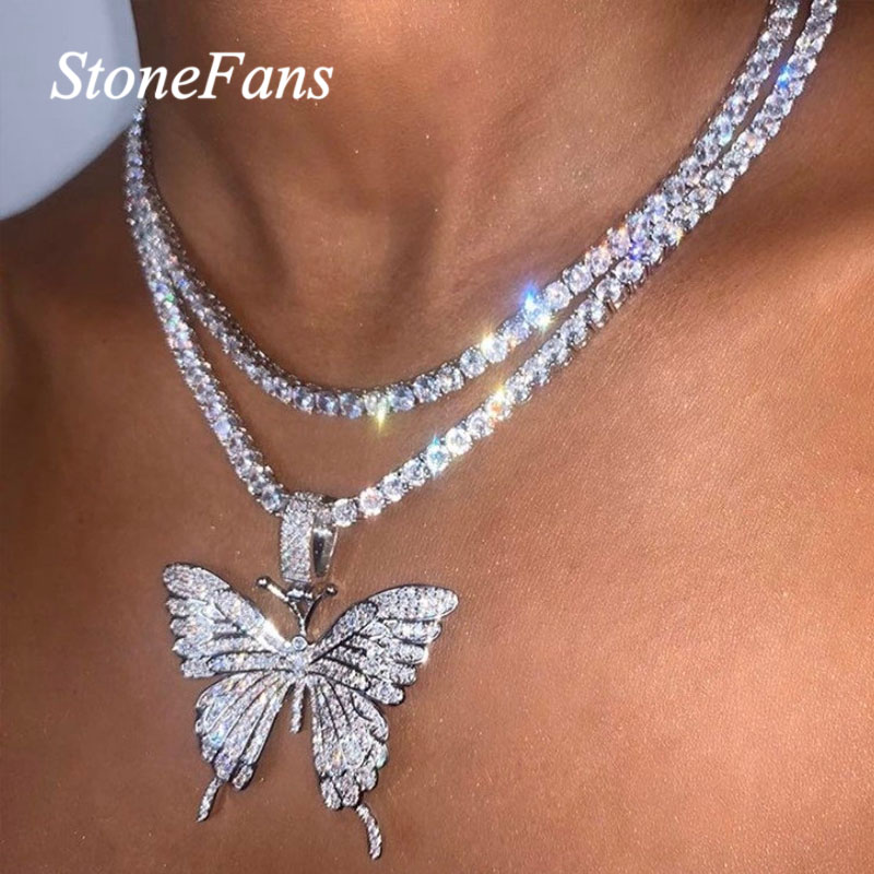 Stonefans Statment Big Butterfly Pendant Necklace Rhinestone Chain for Women Bling Tennis Chain Crystal Choker Necklace Jewelry