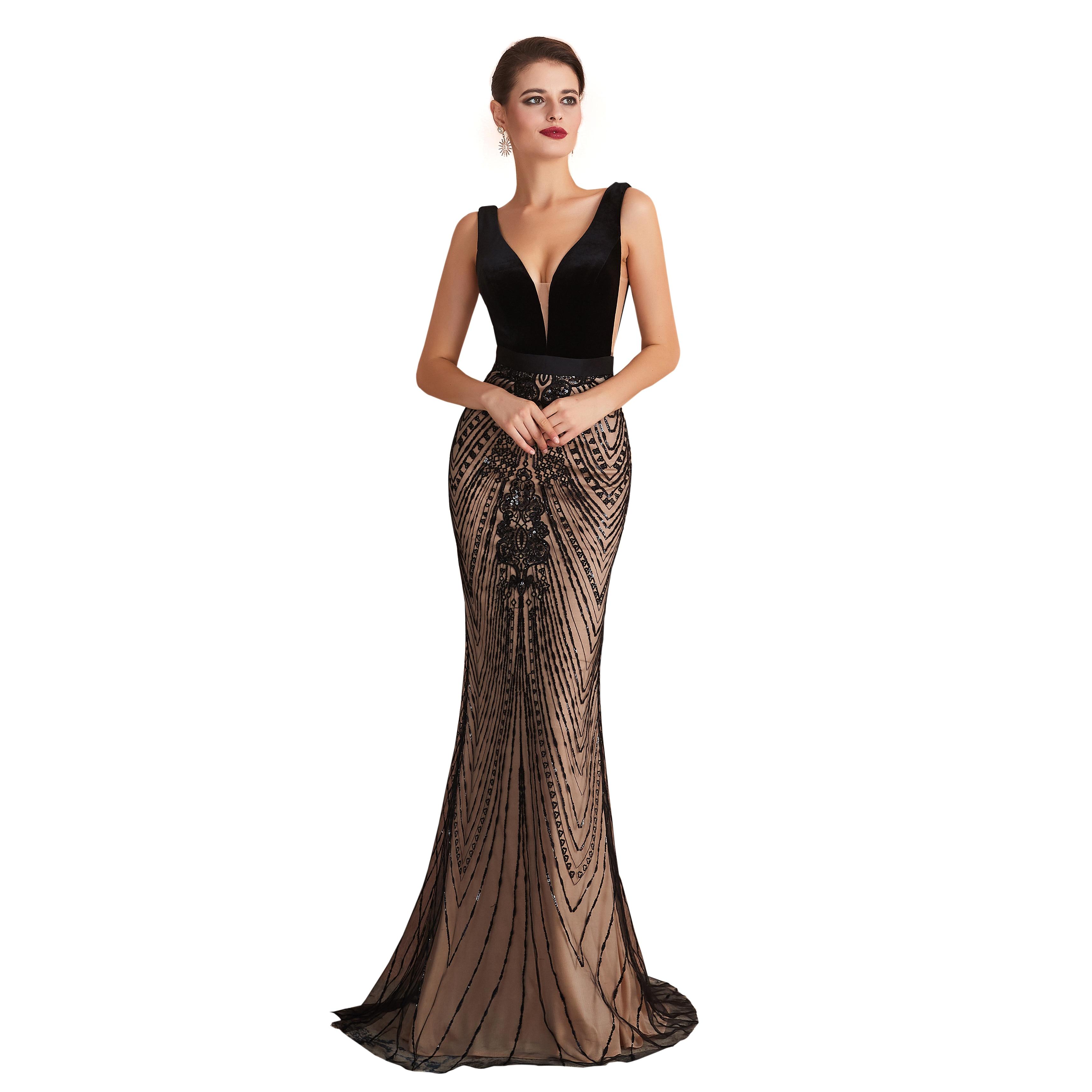 NEW 2020 St.Des Mermaid V-neck Russian Black Champagne Sequins Beading Sleeveless Elegant Floor Length Evening Dress Party Dress