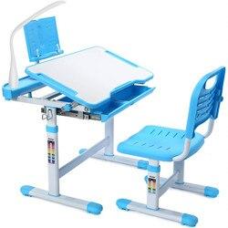 Детский комплект для стола и стула с лампой, детский Рабочий стол с регулируемой высотой для девочек и мальчиков, эргономичный дизайн, письм...