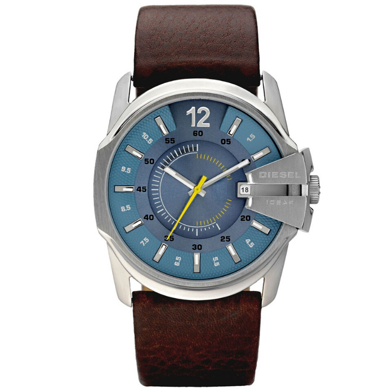 Original Diesel Mens Blue Dial Brown Leather Strap Top Brand Luxury Set Quartz Watch 100m. Waterproof Men Watch DZ1399
