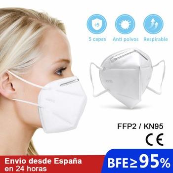 10 pcs face mask kn95 ffp2 respirator de 5 layers anti splash with Ce homologacion free from Spain