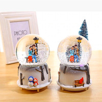 LORONZ Couple Snow Scene Music Ball Novelty Night Light Musical Snow Globe Music Box Ornament Gift for Christmas Valentine's Day
