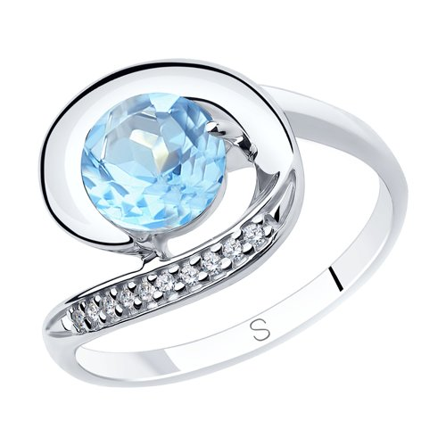 Sokolov Silver Ring With Topaz And Cubic Zirconia, Fashion Jewelry, 925, Women's/men's, Male/female