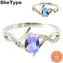 7x5mm 2019 New Designed 2.1g Color Changing Alexandrite & Topaz 925 Solid Sterling Silver Rings