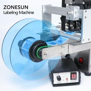 Image 2 - ZONESUN TB YL50D شبه التلقائي ماكينة لصق العلامات على الزجاجات المستديرة تسمية قضيب مع ماكينة لطبع التاريخ بطاقات ذاتية اللصق موزع