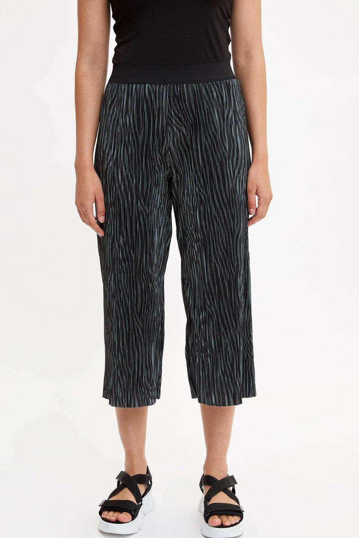 DeFacto Fashion Woman Elastic Waist Trousers Female Striped Wide-leg Crop Pants Ladies Casual Comfort Spring - K6989AZ19SM