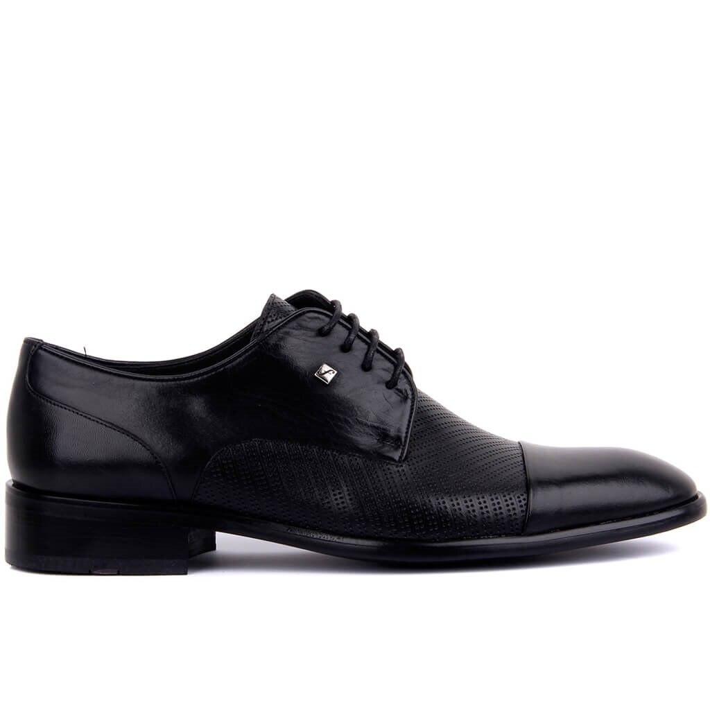 Fosco-Black Leather Men's Classic Shoes