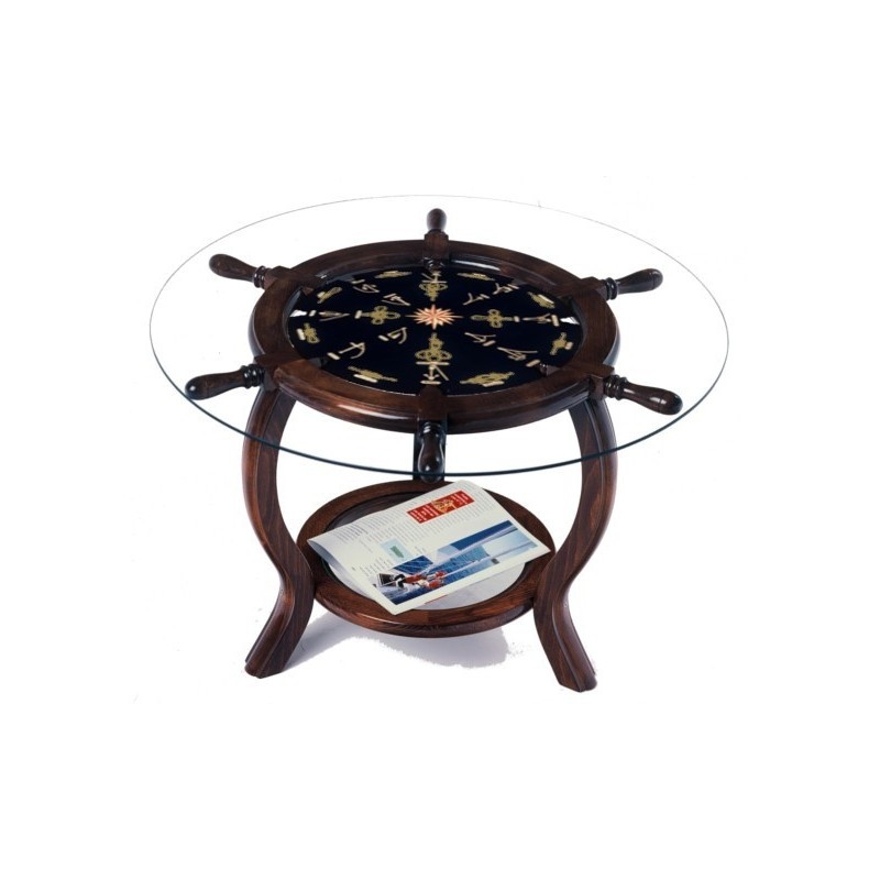 Rudder Wheel Table Ø72x49cm With Gilded Knots (served Without Glass)