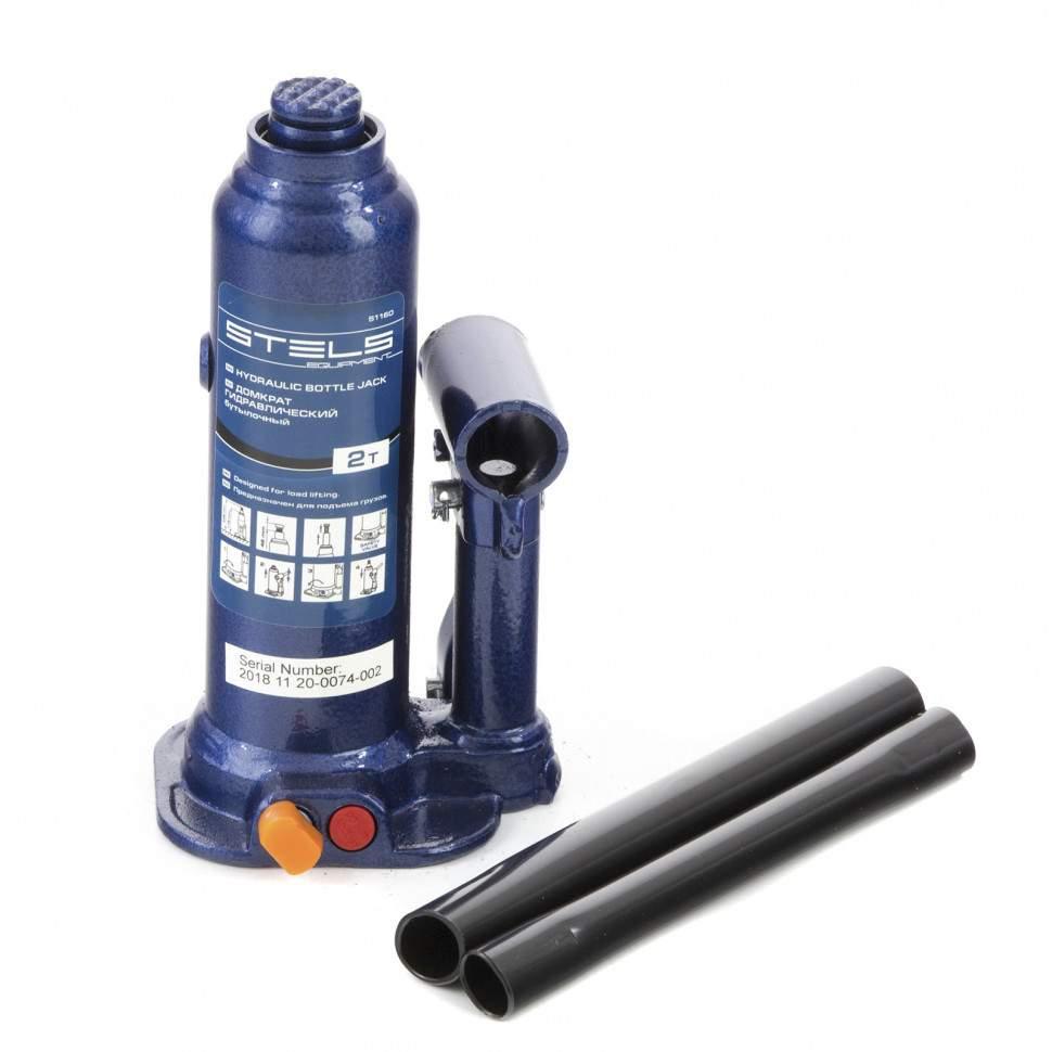 Домкрат гидравлический бутылочный, 2 т, h подъема 178-338 мм Stels (арт. 51160)