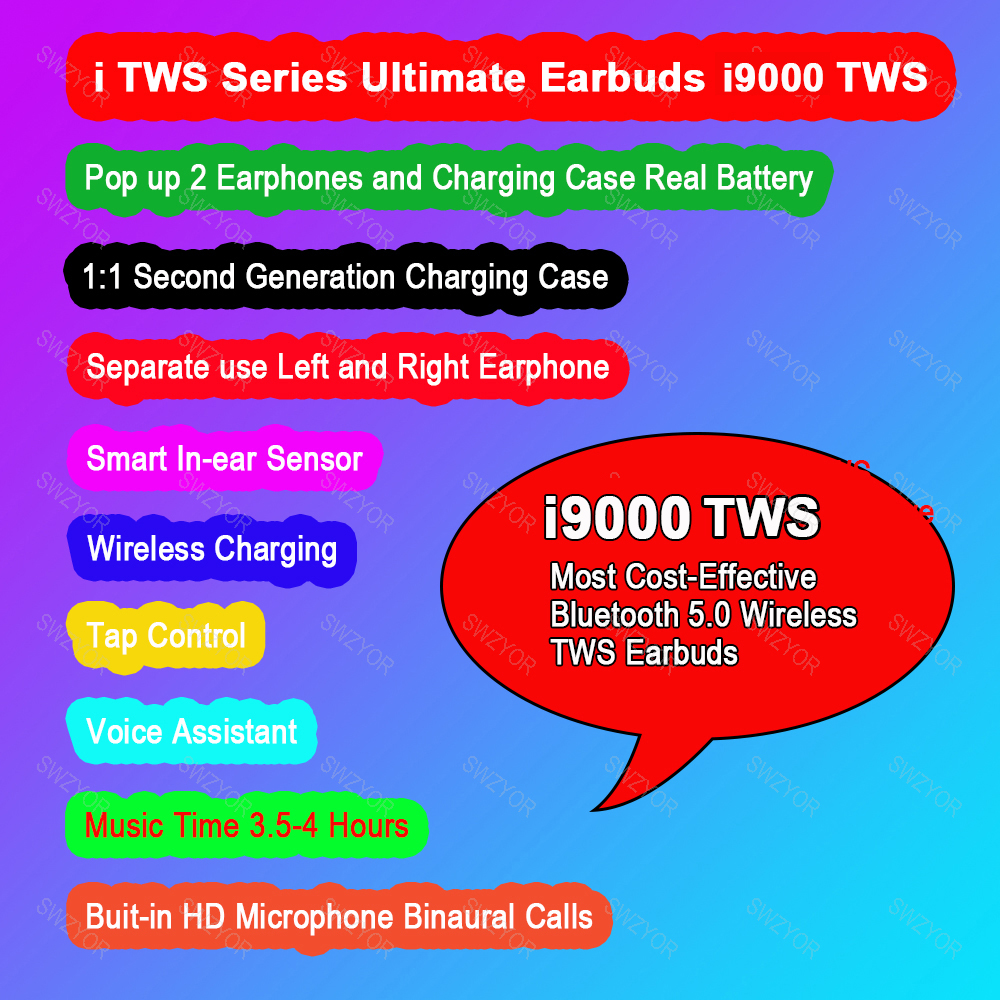 i9000 TWS Arie 2 Replica 1:1 In-ear Sensor Check Wireless Earphone 8D Super  Bass Bluetooth 5 0 Earbuds pk h1 Chip i2000 i500 tws